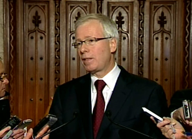 Liberal Leader Stephane Dion speaks to media from the halls on Parliament Hill in Ottawa, Thursday, Dec. 4, 2008.