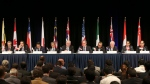 Ministers from 12 nations attend a press conference at the Trans-Pacific Partnership meeting in Sydney, Australia, Monday, Oct. 27, 2014. (AP / Rob Griffith)