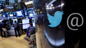 The Twitter logo appears at the New York Stock Exchange, on Tuesday, Oct. 13, 2015. (Richard Drew/AP)