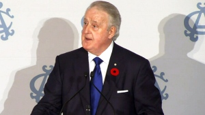 Former Prime Minister Brian Mulroney speaks at the Albany Club in Toronto, Thursday, Nov. 5, 2015.