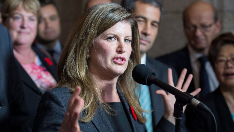 Rona Ambrose speaks after being named as the interim-leader of the Conservative party following a caucus meeting Thursday November 5, 2015 in Ottawa.  (Adrian Wyld / THE CANADIAN PRESS)