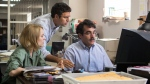 "This photo provided by courtesy of Open Road Films shows, Rachel McAdams, from left, as Sacha Pfeiffer, Mark Ruffalo as Michael Rezendes and Brian d'Arcy James as Matt Carroll, in a scene from the film, ""Spotlight."" (Kerry Hayes/Open Road Films )"