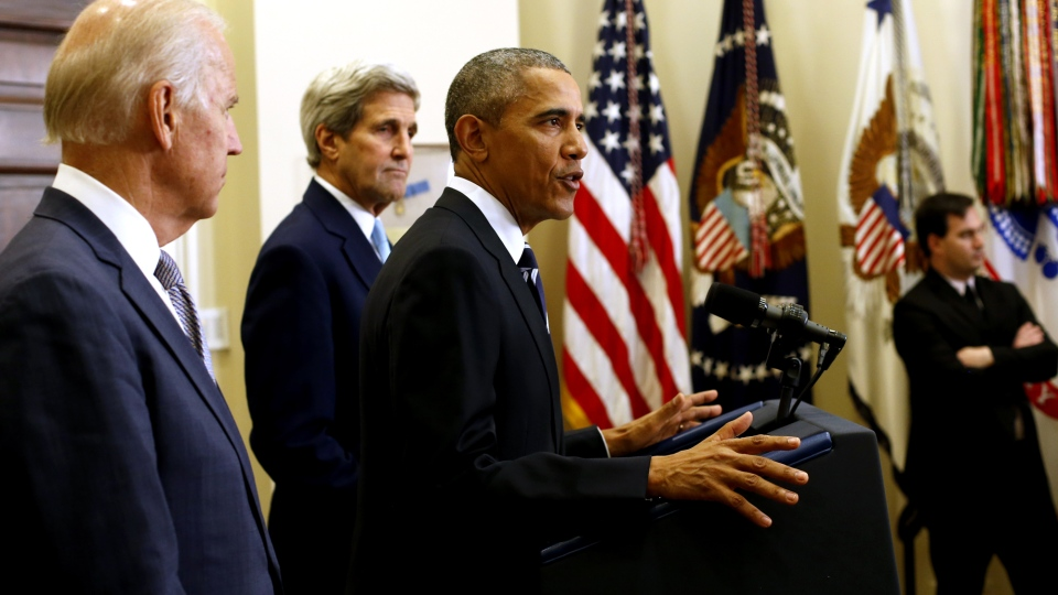 U.S. President Barack Obama, accompanied by U.S. Vice President Joe Biden and Secretary of State John Kerry, announce he's rejecting the Keystone XL in the Roosevelt Room of the White House in Washington, Friday Nov. 6, 2015. (AP / Pablo Martinez Monsuvais)