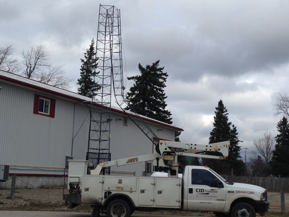 A 100-foot communication tower at Mulmur-Melanchton fire hall was blown down on Friday. (Brandon Rowe / CTV Barrie)