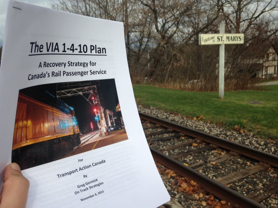 A new report, that calls for re-investment in VIA Rail, is seen in St. Marys, Ont. on Friday, Nov. 6, 2015. (Daryl Newcombe / CTV London)