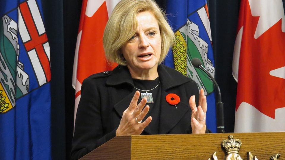 Alberta Premier Rachel Notley speaks about the Keystone XL decision at a press conference at the Alberta legislature in Edmonton on Friday, Nov. 6, 2015. (Dean Bennett / THE CANADIAN PRESS)