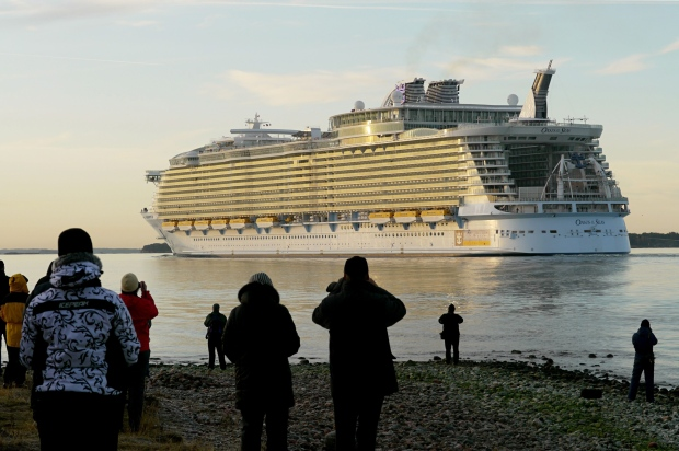 This Oct. 30, 2009 file photo released by Royal Caribbean shows Royal Caribbean's Oasis of the Seas departing a ship yard in Finland. (AP / Royal Caribbean)