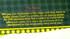 Tipping policy at Indian Street Food Co.