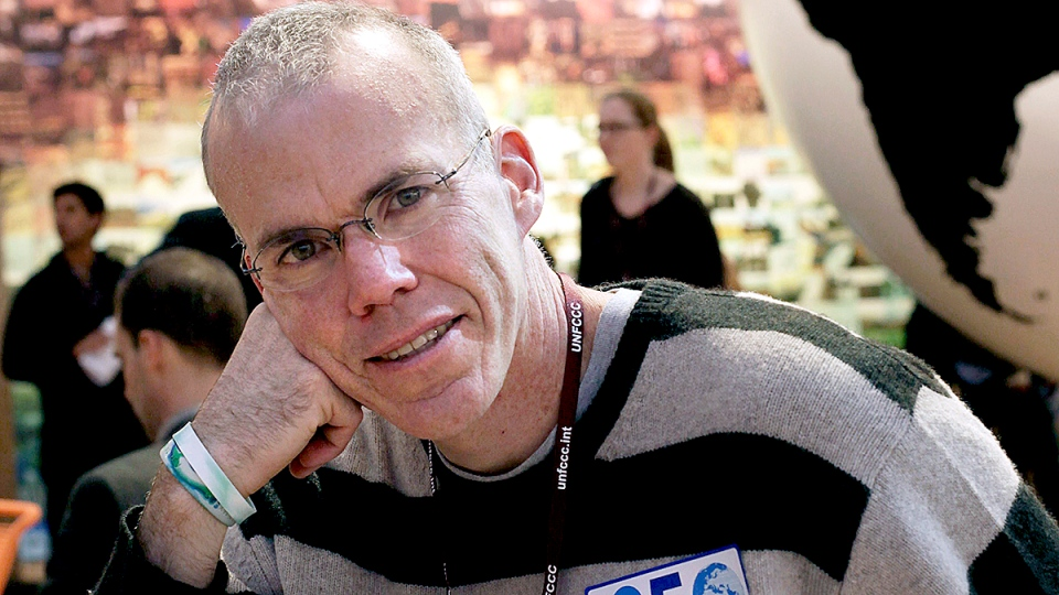 American environmentalist and writer Bill McKibben poses at the main venue of the Climate Conference in Copenhagen, Thursday Dec. 10, 2009. (AP / Peter Dejong)