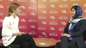 Emma Watson chats with human rights advocate Malala Yousafzai in this screen grab from YouTube. (YouTube)