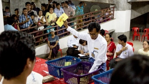 Votes are counted at a polling station in Yangon, Myanmar, Sunday, Nov. 8, 2015. (AP / Amanda Mustard)