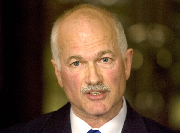 NDP Leader Jack Layton gives his rebuttal to Harper's address, on Parliament Hill in Ottawa, Wednesday, Dec. 3, 2008. (Tom Hanson / THE CANADIAN PRESS)