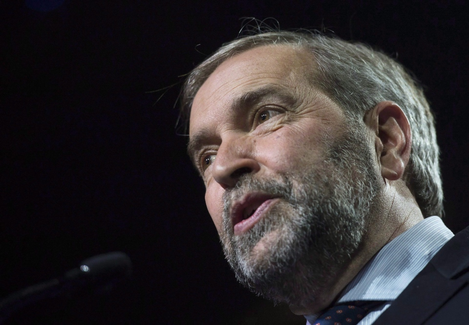 NDP Leader Tom Mulcair speaks to supporters at NDP federal election night headquarters in Montreal on Oct. 19, 2015. (Graham Hughes / The Canadian Press)
