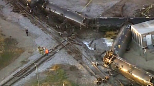 A still image taken from video shows the aftermath of a train derailment in Watertown, Wisconsin on Sunday, Nov. 8, 2015.