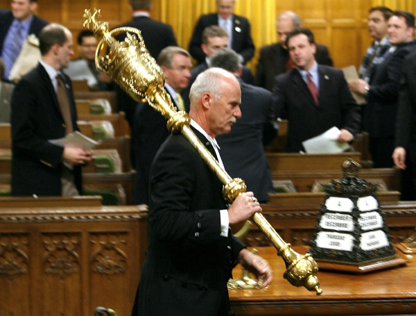 The Mace is removed from the House of Commons chamber on Parliament Hill in Ottawa after the governor general's decision to prorogue Parliament, Thursday, Dec. 4, 2008. (Sean Kilpatrick / THE CANADIAN PRESS)