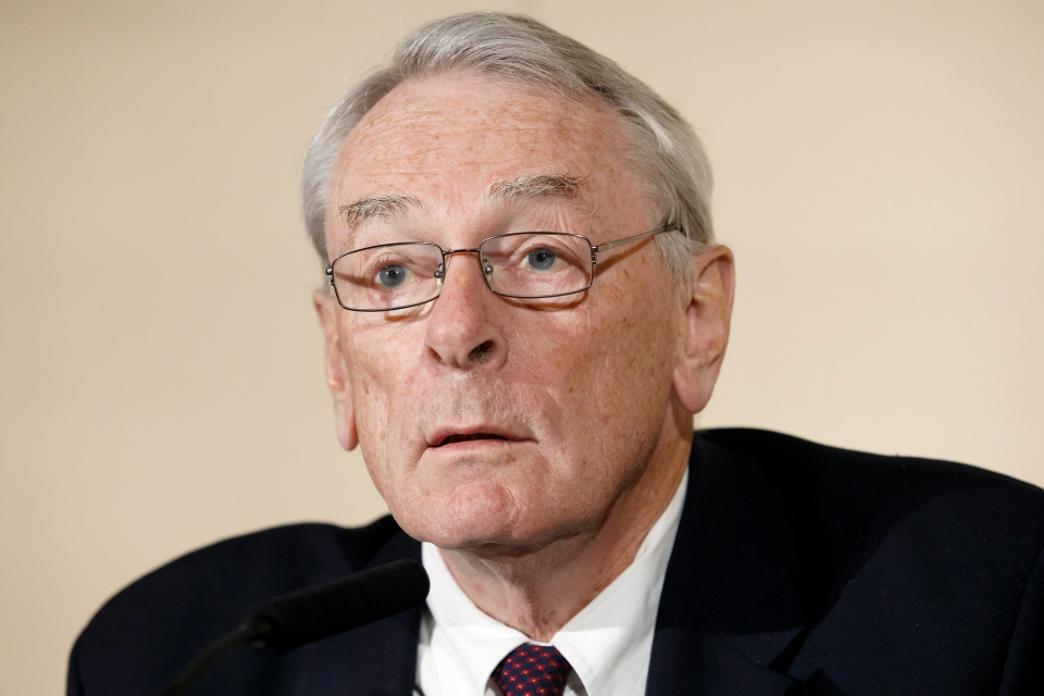 Canadian Richard Pound, chairman of World Anti-Doping Agency's Independent Commission (IC), presents the findings of his Commission's Report surrounding allegations of doping in sport, during a press conference, in Geneva, Switzerland, Monday, Nov. 9, 2015. (Salvatore Di Nolfi / Keystone)