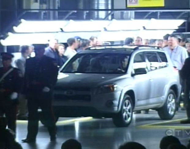 A RAV-4 on display at the officially-opened Toyota assembly plant in Woodstock, Ont. on Thursday, Dec. 4, 2008.
