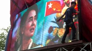 TV showing images of Aung San Suu Kyi in Yangon, Myanmar, on Nov. 9, 2015. (Amanda Mustard / AP)