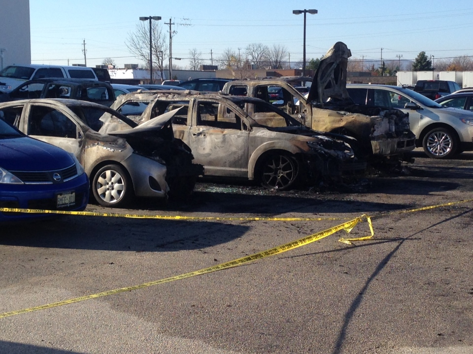 A number of vehicles were destroyed during an early morning fire at a car dealership in Collingwood, Ont. on Monday, Nov. 9, 2015. (Roger Klein/ CTV Barrie)