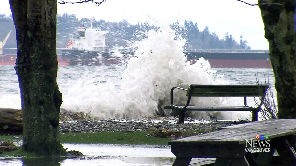 Waves slam against the Vancouver shoreline during king tide season in this CTV News file photo.
