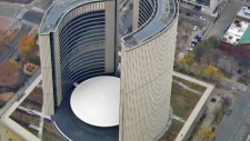 Toronto City Hall is seen from the CTV News chopper on Tuesday, Nov. 10, 2015.