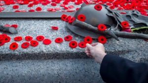People place poppies at the Tomb of the Unknown Soldier following the Remembrance Day ceremony at the National War Memorial in Ottawa on Nov. 11, 2014. (Justin Tang/THE CANADIAN PRESS)