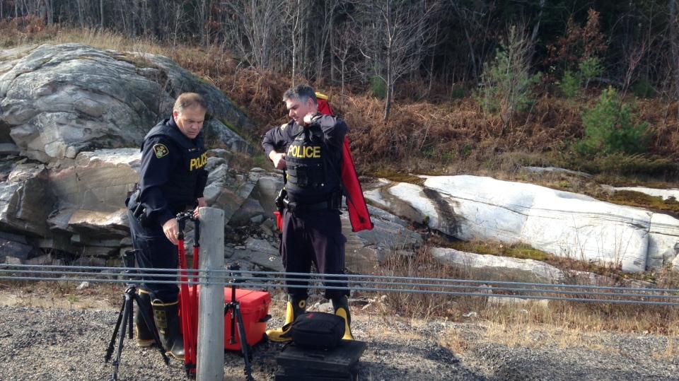 OPP investigators can be seen near a fatal plane crash in Seguin Township, Ont. on Tuesday, Nov. 10, 2015. (Steve Mansbridge/ CTV Barrie)