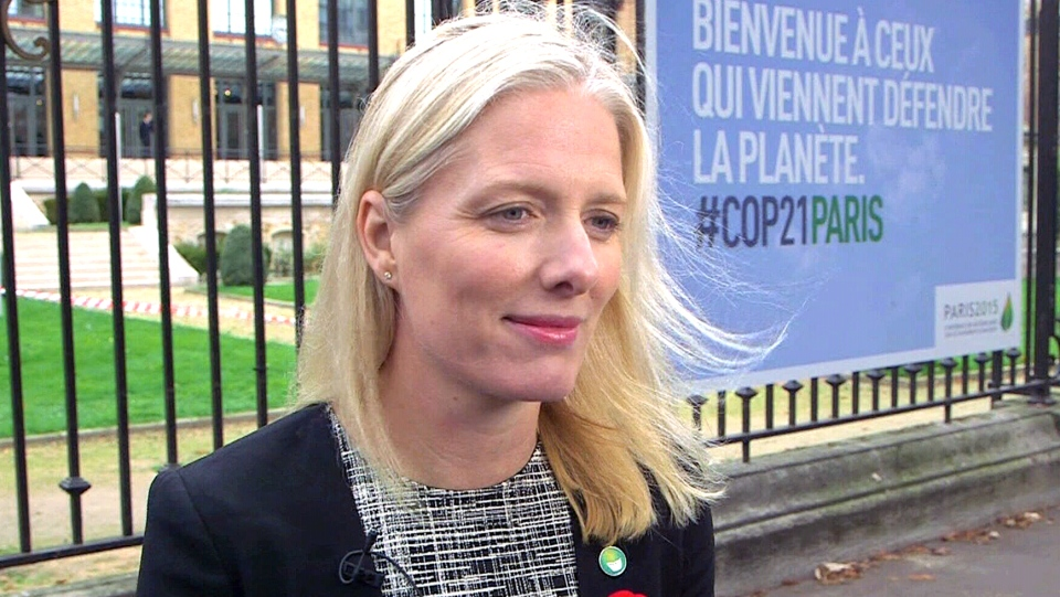 Environment and Climate Change Minister Catherine McKenna speaks from Paris on Tuesday, Nov. 10, 2015.