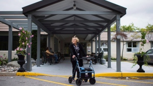Devora Greenspon stands for a photo outside her nursing home Extendicare Bayview in Toronto on Sunday, Sept. 13, 2015. (Aaron Vincent Elkaim / THE CANADIAN PRESS)