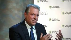 Former Vice-President Al Gore gestures during an interview in Nashville, Tenn., in this image from video, taken Nov. 9, 2015. (AP / Alex Sanz)