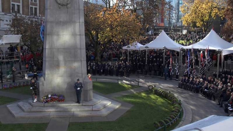 Thousands of people gathered at the Victory Square Cenotaph in Vancouver to pay tribute to those who have fought and died for Canada. Nov. 11, 2015. (CTV)