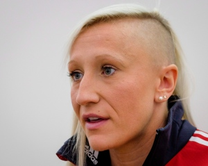 Kaillie Humphries speaks to reporters in Calgary on Wednesday, Nov. 11, 2015. (THE CANADIAN PRESS / Jeff McIntosh)