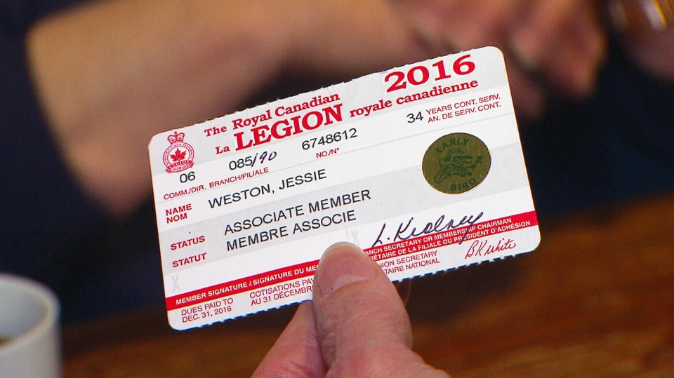 Between 2004 and 2014 the Royal Canadian Legion's membership has dropped from about 400,000 to 300,000.