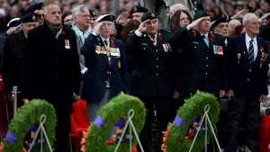Veterans salute during the Remembrance Day ceremony at the National War Memorial in Ottawa on Wednesday, November 11, 2015. (Sean Kilpatrick / THE CANADIAN PRESS)
