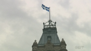Quebec flag atop the National Assembly
