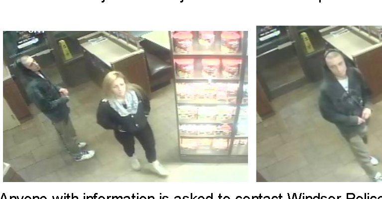 Windsor police have released security camera photos of two suspects after a poppy donation box was stolen on Remembrance Day. (Courtesy Windsor police)