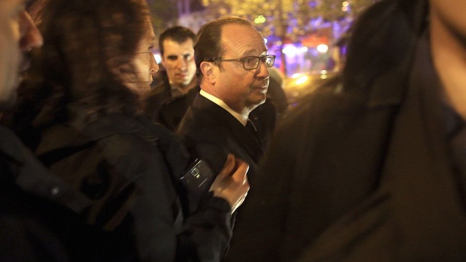 French President Francois Hollande at the Bataclan