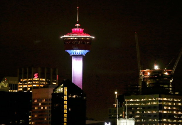 Calgary Tower lit up for Paris