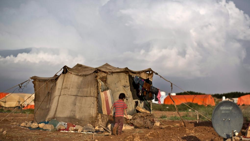 Tented settlement near the Syrian border in Jordan