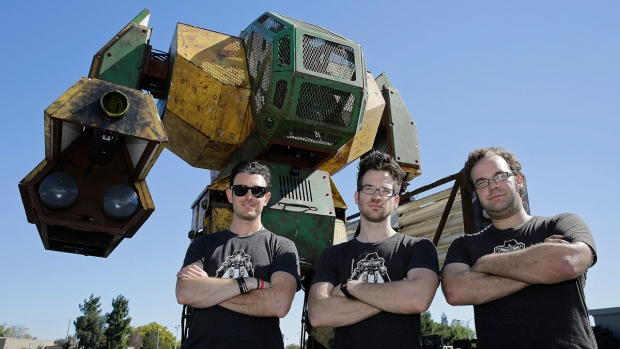 MegaBots founders in Redwood City, Calif.