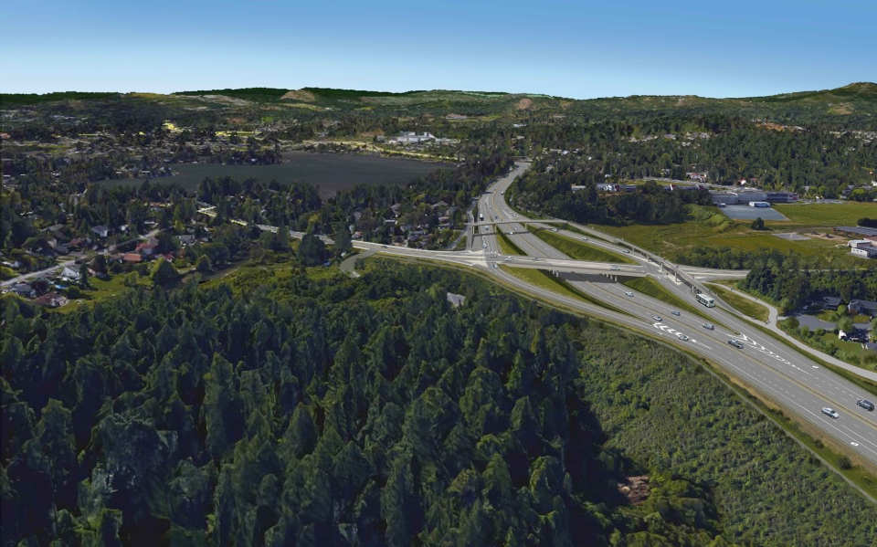 Option one, a diamond interchange, is shown in this concept art provided by the Ministry of Transportation and Infrastructure. Nov. 16, 2015.