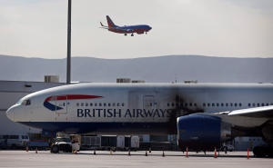 A British Airways plane sits at McCarran International Airport Wednesday, Sept. 9, 2015, in Las Vegas. (AP/John Locher)