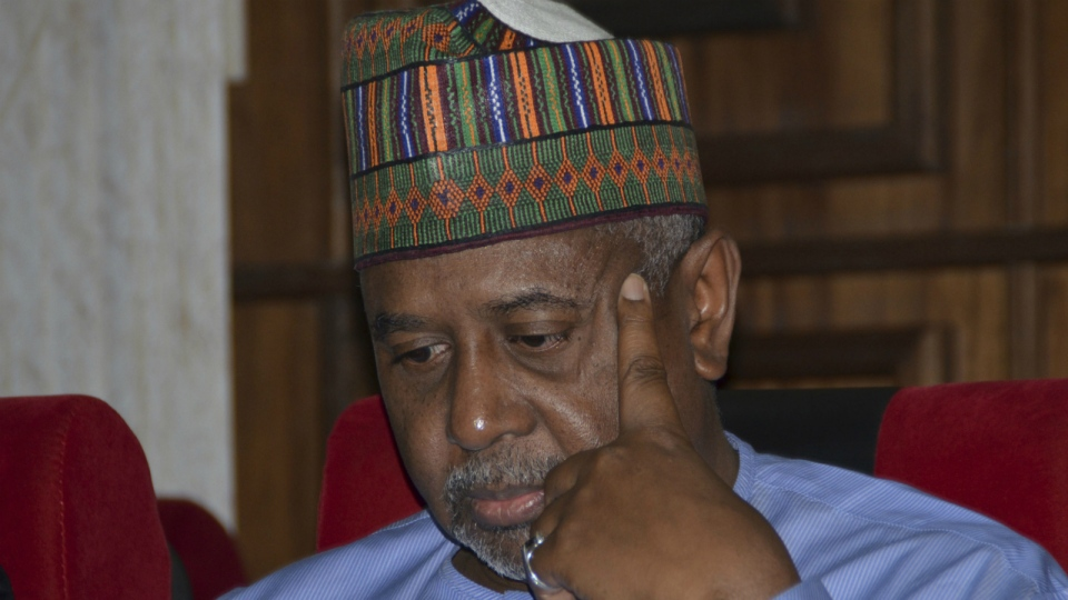 Nigeria's former national security adviser Sambo Dasuki attends a hearing to face charges of possessing weapons illegally, at the Federal High Court in Abuja, Nigeria on Tuesday, Sept. 1, 2015. (AP)