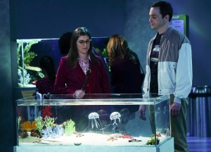 This photo provided by CBS shows, Jim Parsons, right, as Sheldon and Mayim Bialik, left, as Amy, in a scene from the television series, 'The Big Bang Theory,' which airs on the CBS Television Network.  (Monty Brinton/CBS via AP)