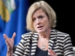Alberta Premier Rachel Notley speaks during an onstage interview following a business luncheon in Calgary on Oct. 9, 2015. (Larry MacDougal / The Canadian Press)