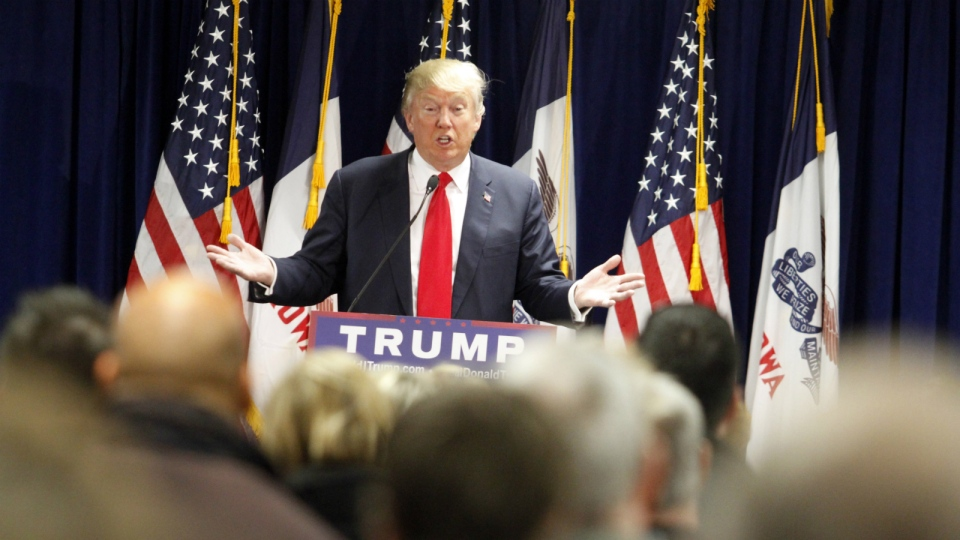 Republican presidential candidate Donald Trump speaks during a rally at the Des Moines Area Community College Newton Campus in Newton, Iowa on Thursday, Nov. 19, 2015. (AP / Matthew Holst)
