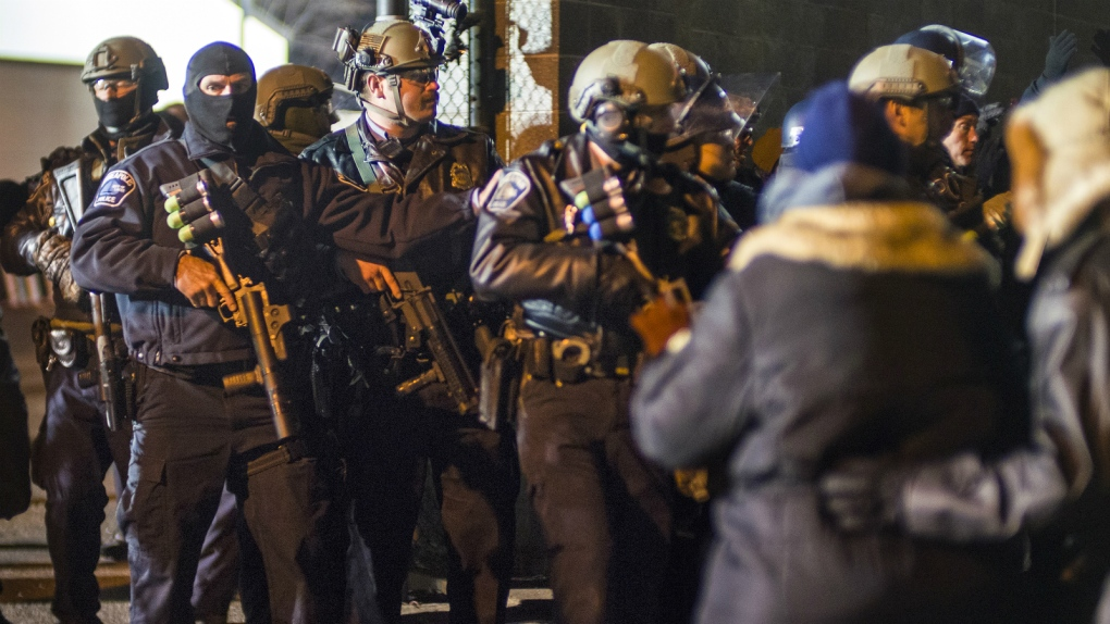 Minneapolis Police in Riot Gear outside the fourth precinct in November 2015