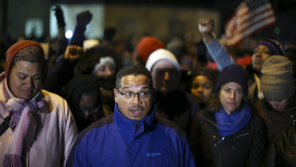 Congressman Keith Ellison and other elected officials spoke at a news conference across the street from the 4th Precinct headquarters in Minneapolis on Thursday, Nov. 19, 2015. (Jeff Wheeler / Star Tribune)