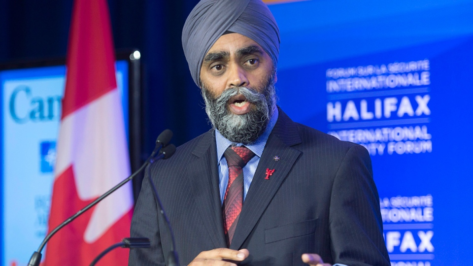 Canadian Defence Minister Harjit Singh Sajjan at the Halifax International Security Forum on Nov. 19, 2015. (Andrew Vaughan / THE CANADIAN PRESS)