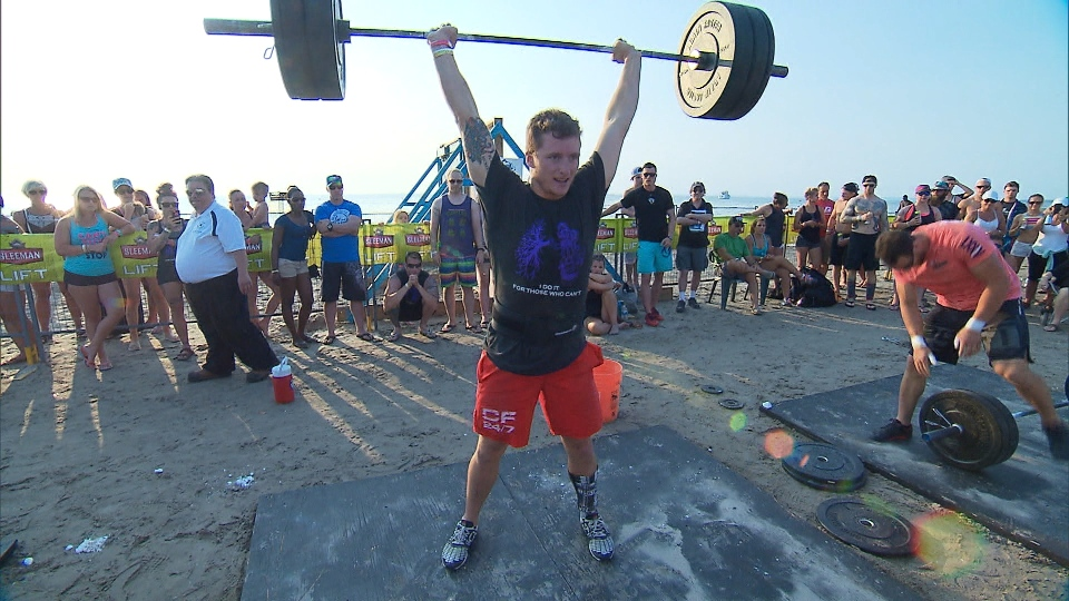 Joe Johnson taking part in a CrossFit competition